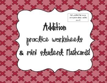 Addition Mini-Falshcards & Worksheets