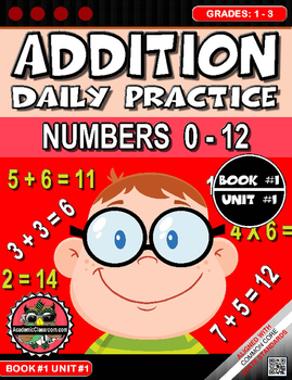 Addition Morning Warm-Up Practice #0-12 Grades 1-3