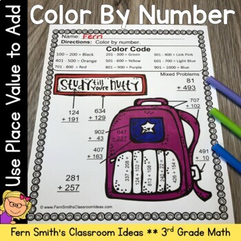 Color By Numbers Addition of Multi-Digit Numbers Within 10