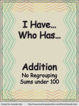 Addition - No grouping/Sums below 100 - I Have...Who Has... Game