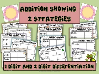 Addition, One and Two Digit, Showing Different Strategies