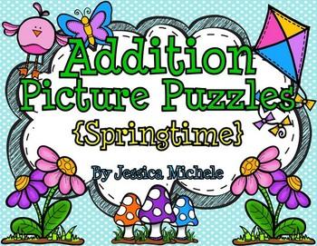 Addition Picture Puzzles {Springtime}
