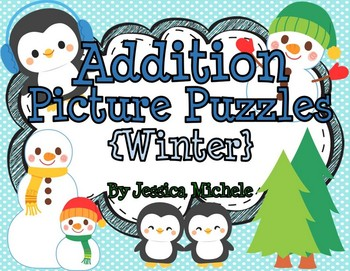 Addition Picture Puzzles {Winter}
