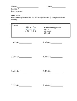 Addition Practice Aligned with NYS Module 1 Lesson 7, 2nd grade