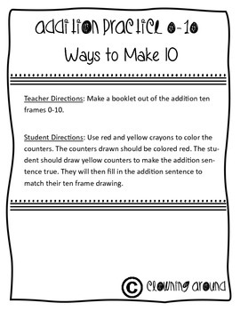 Addition Practice Ten Frame Ways to Make 10 CCSS 1.OA.6