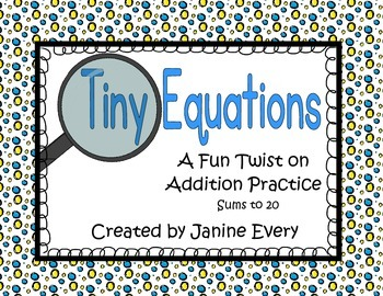 Addition: Math Tub and Center Activities