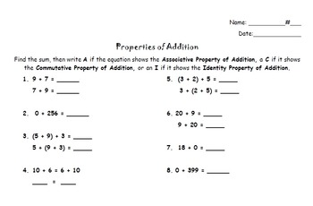 Addition Properties Activity and Quiz - Distributive, Comm