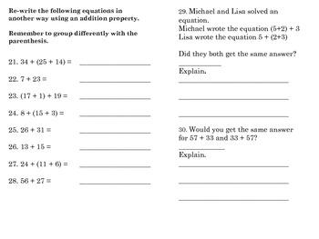 Addition Properties Assessment