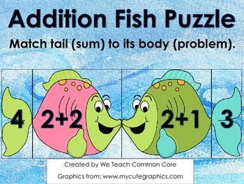 Addition Puzzle with Fish Math Center Activity or Small Gr