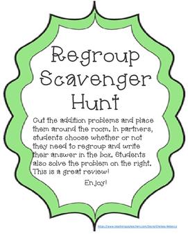 Addition Regroup Scavenger Hunt