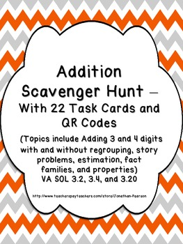 Addition Scavenger Hunt - 22 Task Cards with QR Codes for