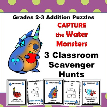 Addition Scavenger Hunt Puzzle Game Grades 3-4 Go Monsters