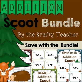 Addition Scoot Bundle Forest, Adding, Fun, Engaging, Kinde
