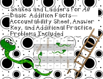 Addition Snakes and Ladders--8 Games to Practice ALL basic