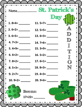 St. Patrick's Day ~ Addition