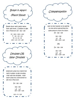 Addition Strategies for Notebooking