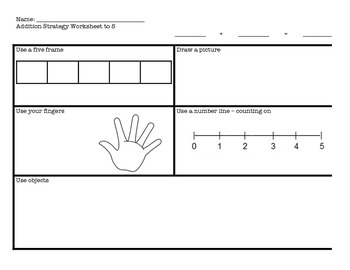Addition Strategy Worksheet