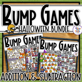 Addition & Subtraction Bump Games Bundle - Halloween themed