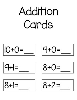 Addition & Subtraction Cards