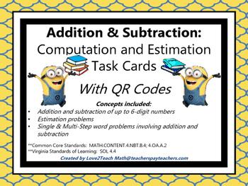 Addition & Subtraction:  Computation & Estimation Task Car