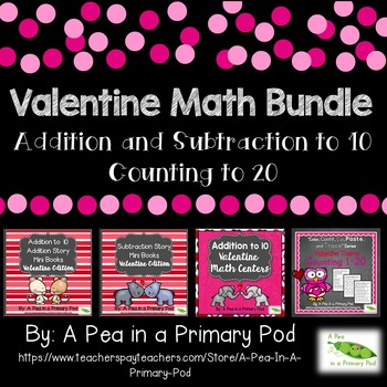 Addition, Subtraction, Count to 20 Math Bundle (Valentine Theme)