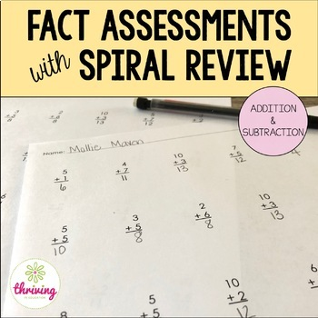 Addition & Subtraction Fact Assessments & Goal Sheet