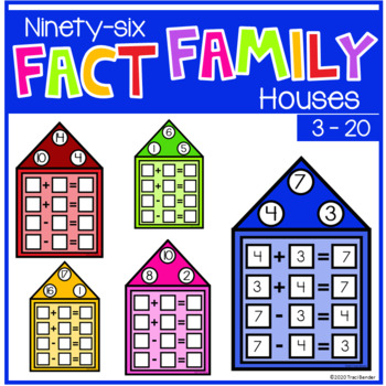Addition & Subtraction Fact Family Houses {96 task houses