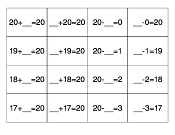 Addition & Subtraction Flash Cards with unknowns for facts