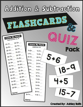 Addition & Subtraction Flashcards & Quiz Pack