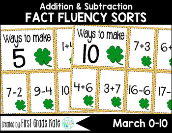 Math Fact Fluency for March (0 to 10)