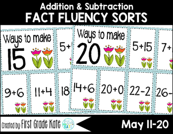 Math Fact Fluency for May (11 to 20)