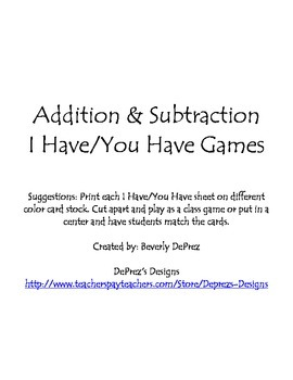 Addition & Subtraction I Have/You Have Games