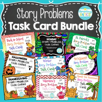 ALL Year Long Word Problem Task Cards Bundle {Addition & S