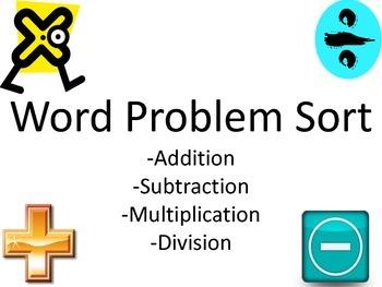 Addition, Subtraction, Multiplication, Division Word Problem Sort