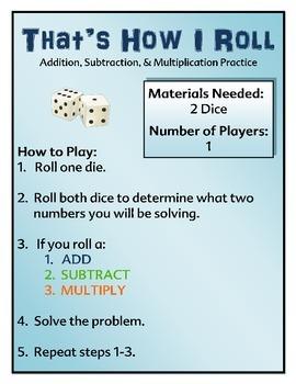 Math Center - Addition, Subtraction, & Multiplication Fact