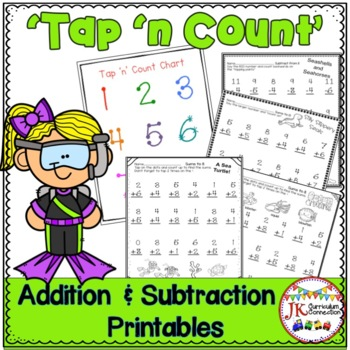 "Addition & Subtraction Ocean Themed Worksheets with ""Tap '"