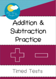 Addition & Subtraction Practice - Timed Tests L1 (Within 100)