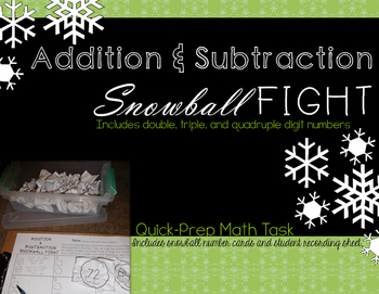 Addition & Subtraction Snowball Fight Math Task