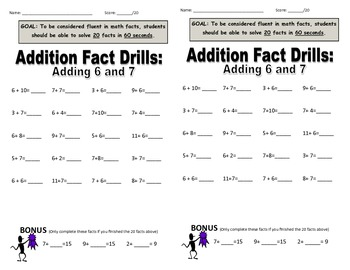 Addition & Subtraction Speed Drills