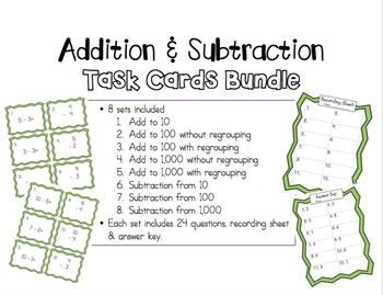 Addition & Subtraction Task Cards Bundle!