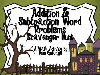 Addition & Subtraction Word Problem Scavenger Hunt for 1st