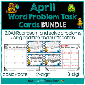 Addition & Subtraction Word Problem Task Cards Bundle - Ap