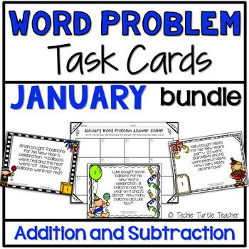 Addition & Subtraction Word Problem Task Cards Bundle - Ja