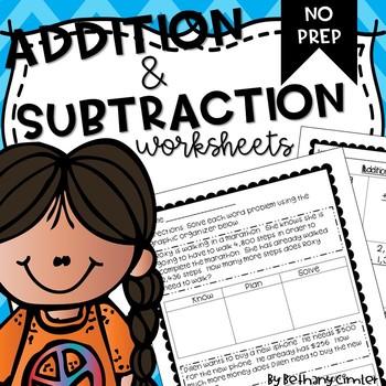 Addition & Subtraction Worksheets {{3-4 Grade}}