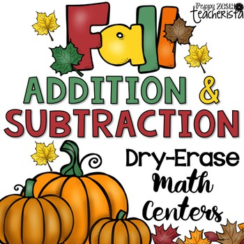 Addition & Subtraction Write on Wipe Off Math Center Games