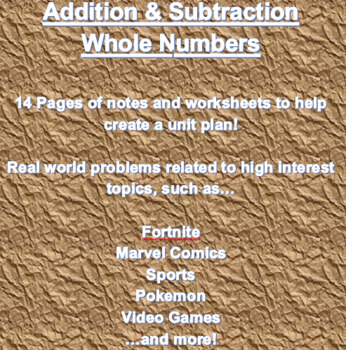 Addition, Subtraction, and Estimation with Whole Numbers a