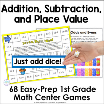 72 Addition, Subtraction, and Place Value Games Bundle