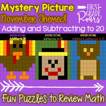 Addition  & Subtraction to 20 Mystery Pictures: November Themed