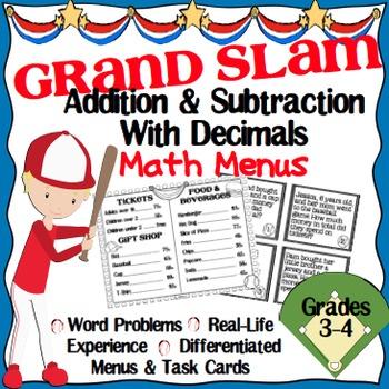 Addition & Subtraction with Decimals Math Menu & Task Card