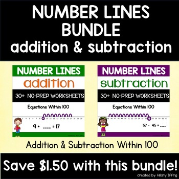 Addition & Subtraction with Number Lines {BUNDLE}